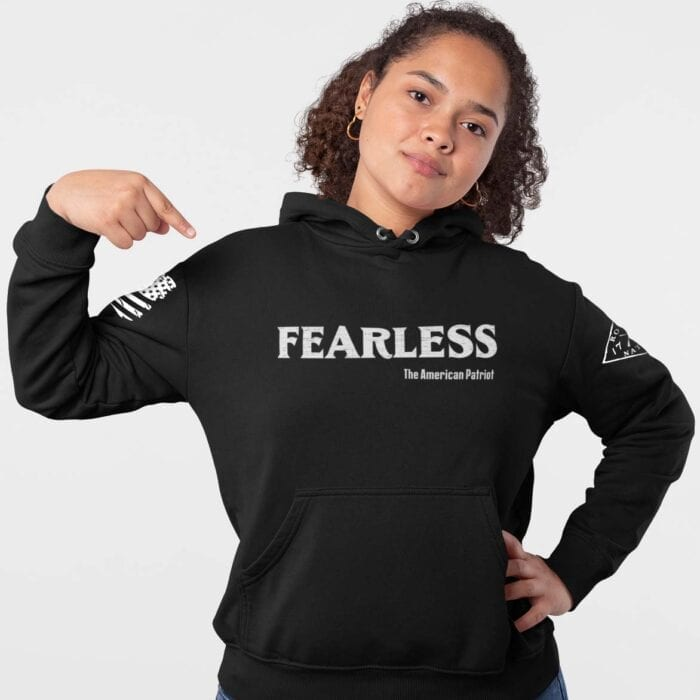 Fearless Patriot on Women's Black Hoodie