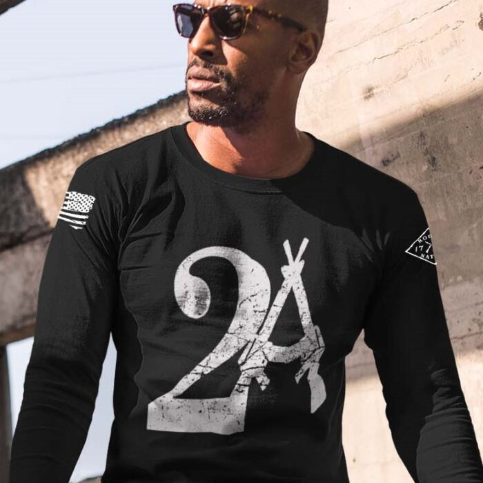 2A on a long sleeve black shirt