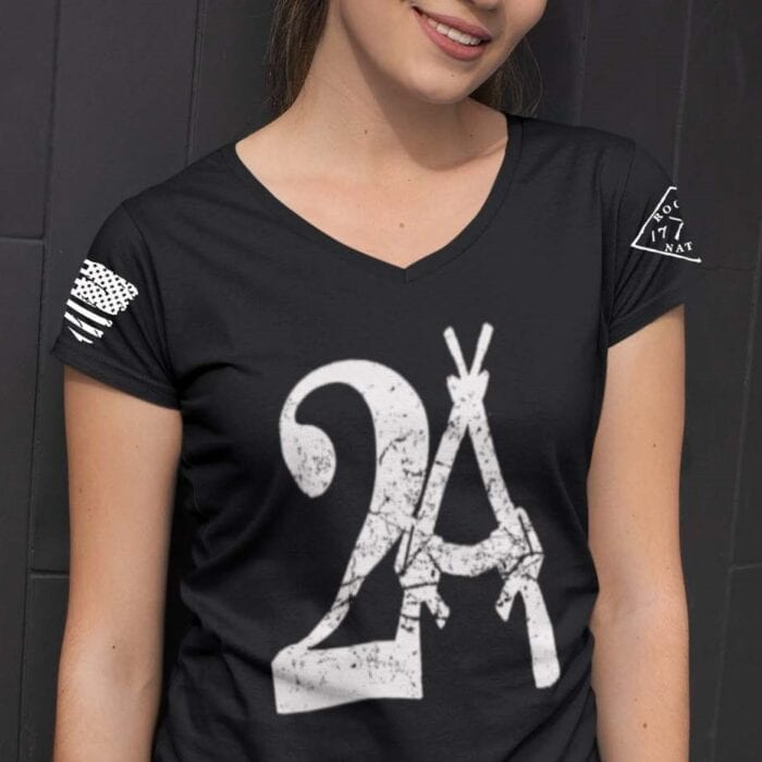 2A on a Black V-Neck T-shirt