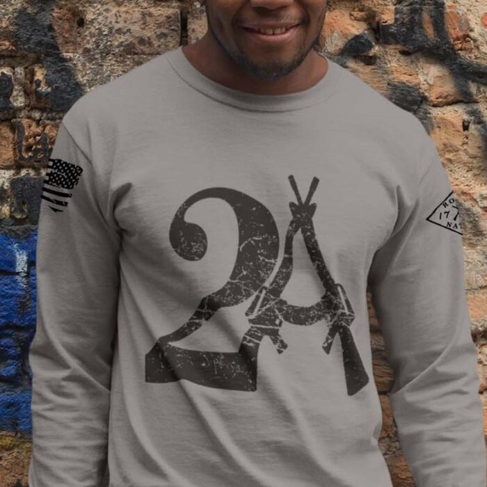 2A on a long sleeve Light Heather grey shirt