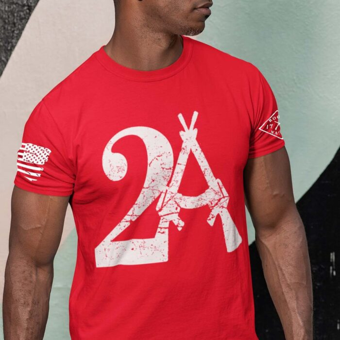 2A on Mens Red T-Shirt