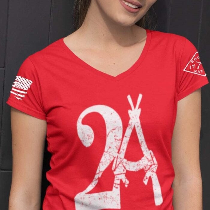2A on a Red V-Neck T-Shirt