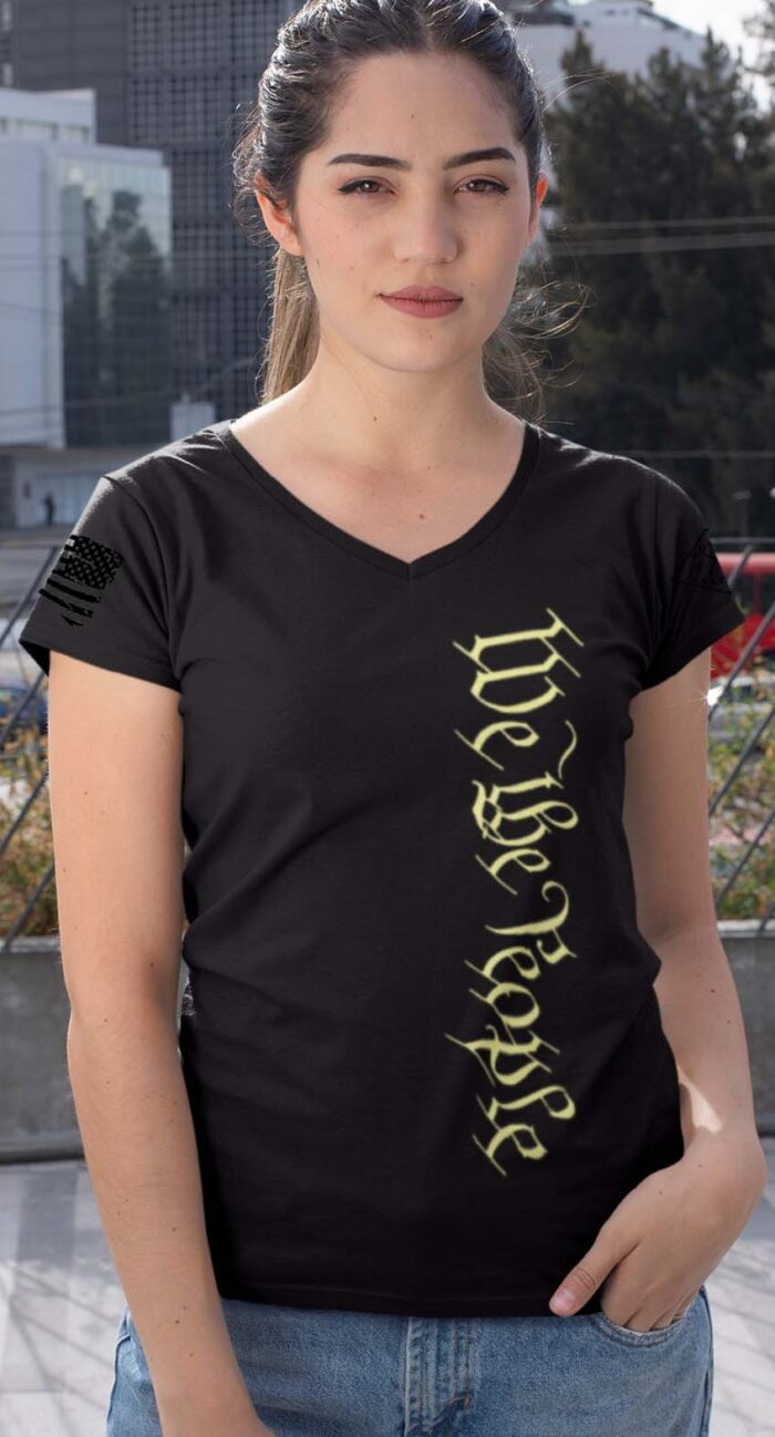 Vertical We the people on a women's black V-neck