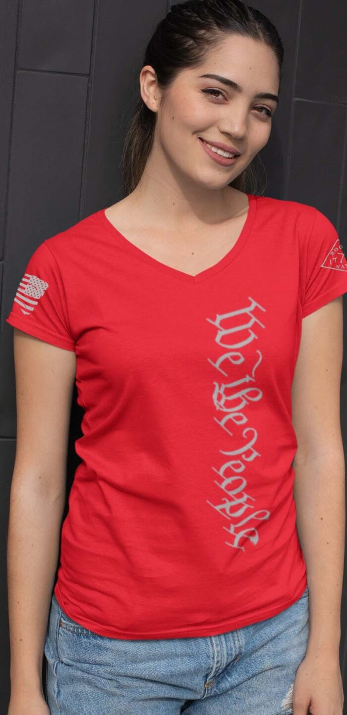 Vertical We the people on a women's red V-neck