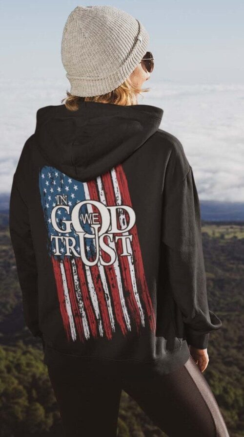 In God We Trust with a flag on a black hoodie