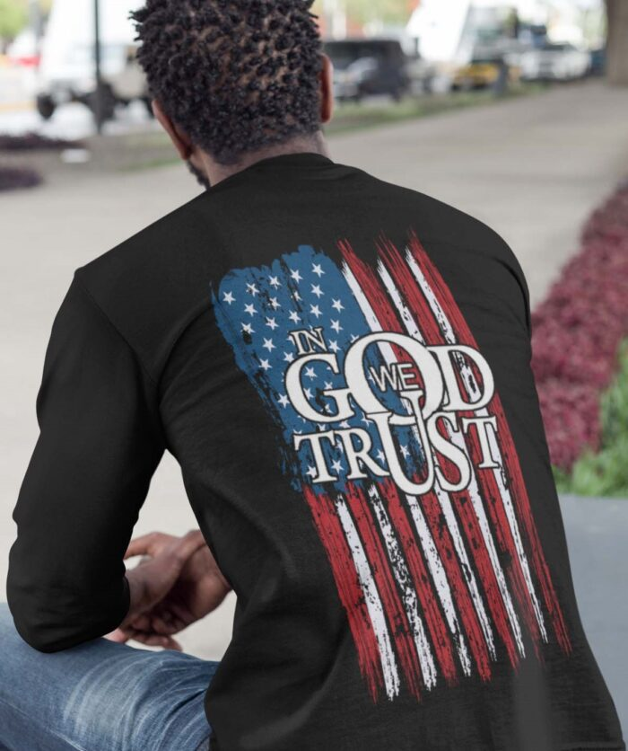 In God We Trust with a flag on a black long sleeve