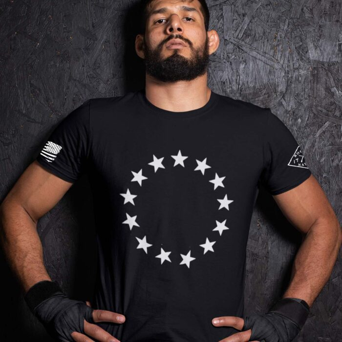 Betsy Stars on a Men's black t-shirt
