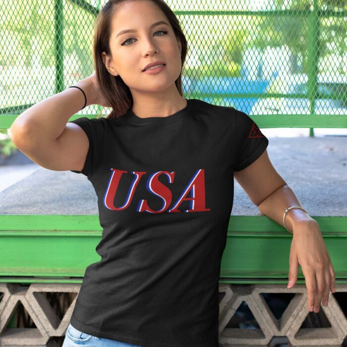 USA Red White & Blue on Women's Black T-Shirt
