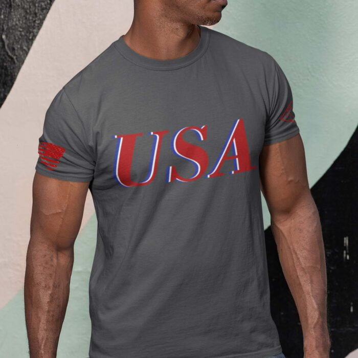 USA Red White & Blue on Charcoal T-Shirt