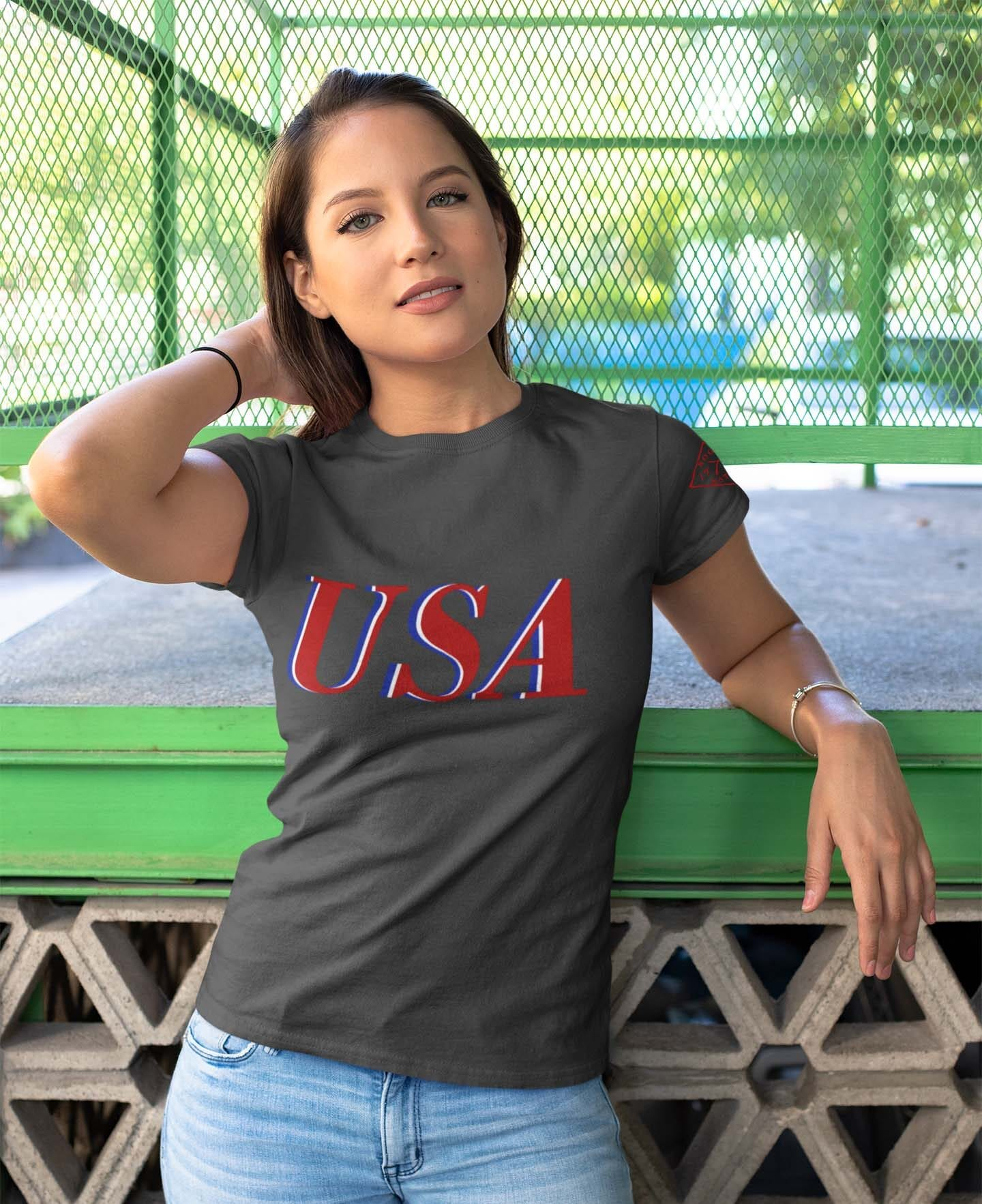 USA Red White & Blue on Women's Charcoal T-Shirt