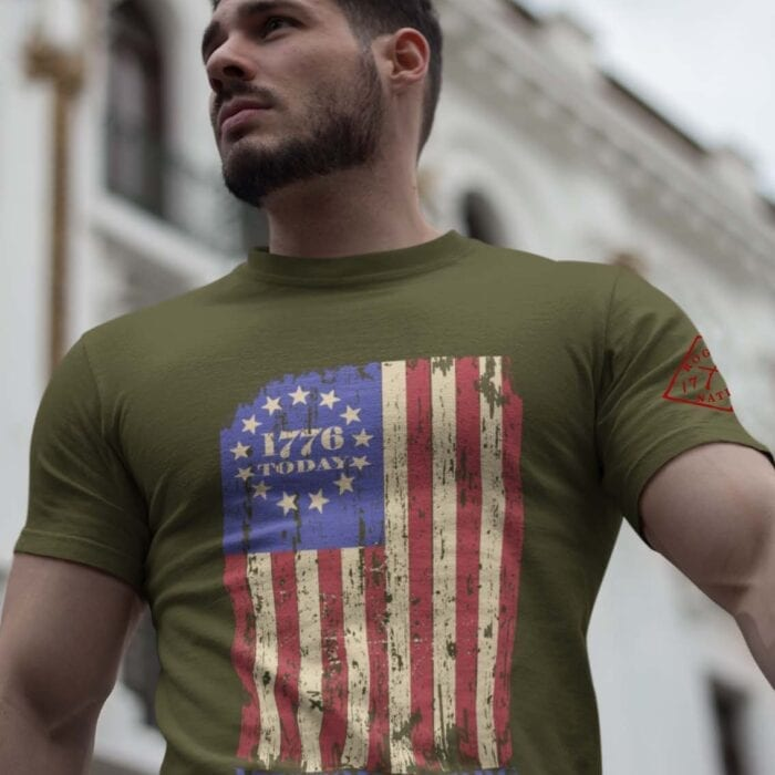 1776 Today Flag on a Mens Army T-Shirt