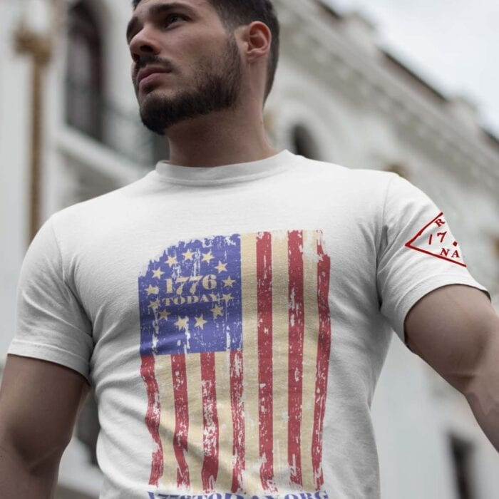 1776 Today.org Flag on a Mens White T-Shirt