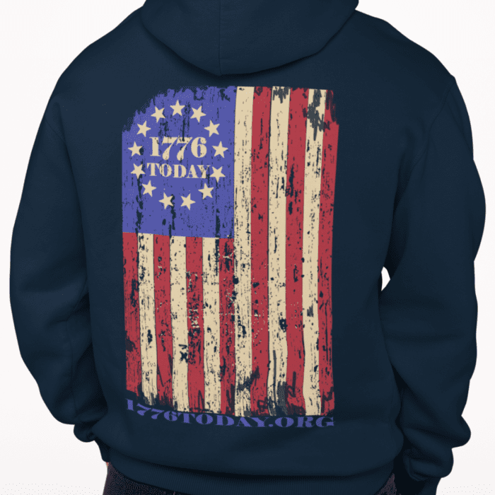 1776 Today Flag on a Navy Hoodie