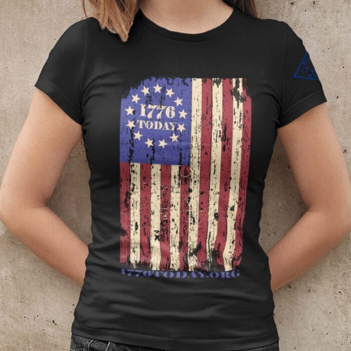 1776 Today.org Flag on a Womens Black T-Shirt