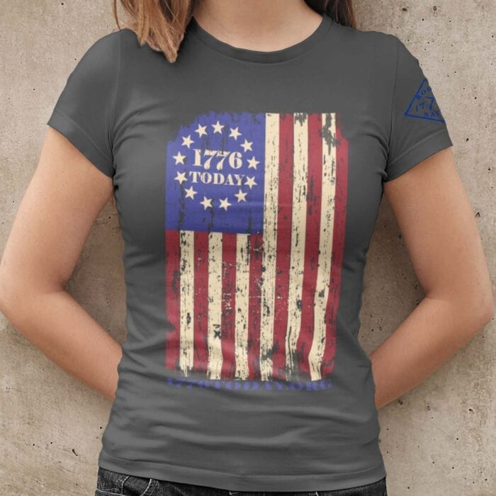 1776 Today.org Flag on a Womens Charcoal T-Shirt