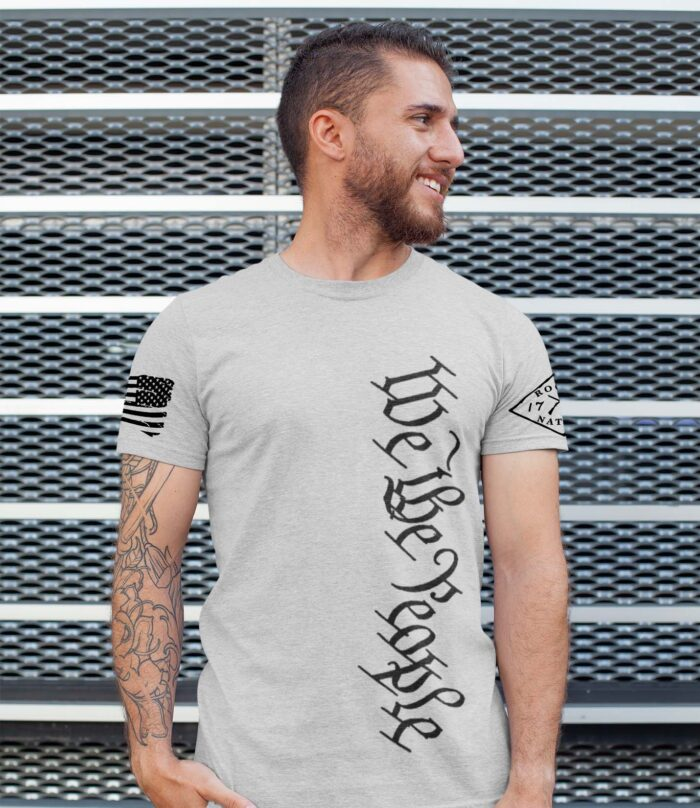 We the People Vertical Mens Tall Tshirt in Light Heather Grey