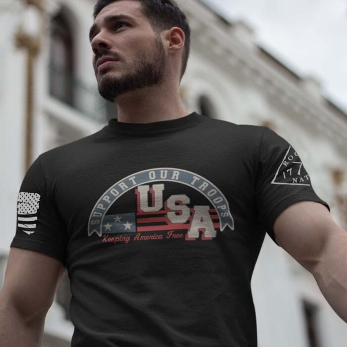 Support Our Troops on a Men's Black T-Shirt