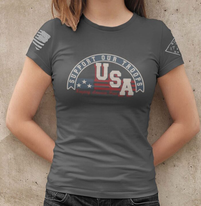 Support Our Troops on a Women's Charcoal T-Shirt