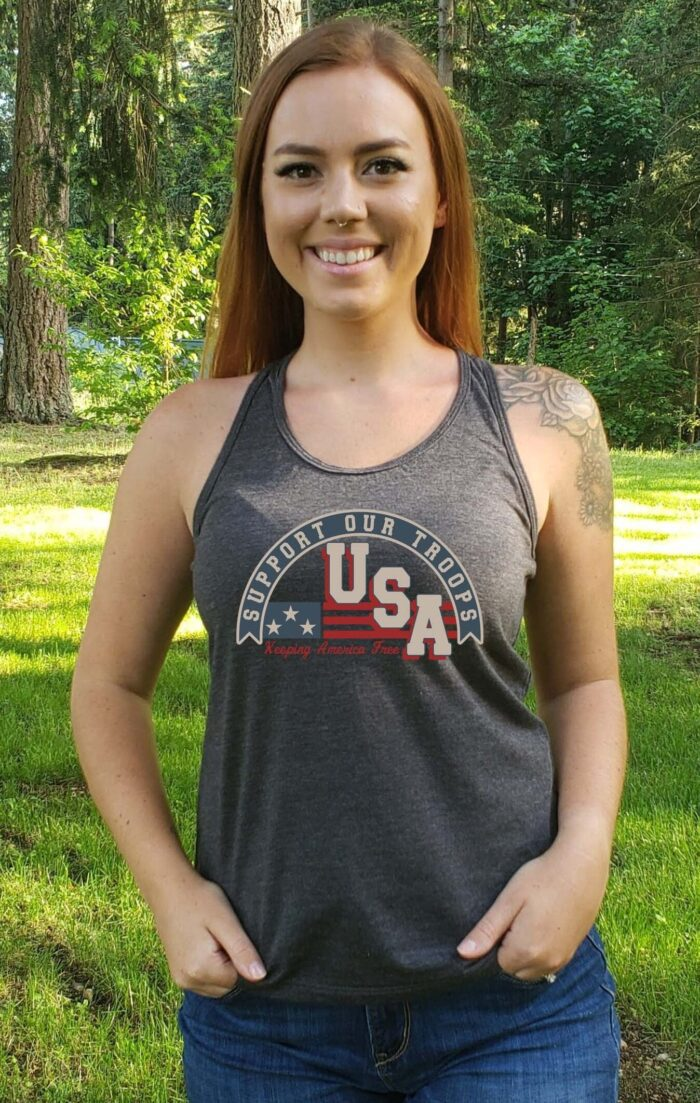 Support Our Troops in a Dark Heather Grey Tank