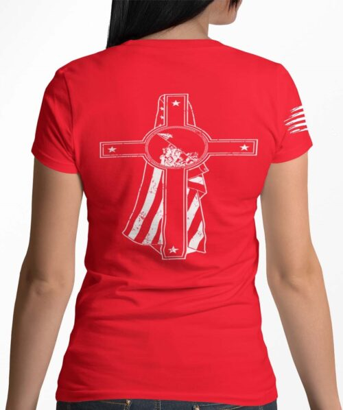Memorial Day on a womens red t-shirt