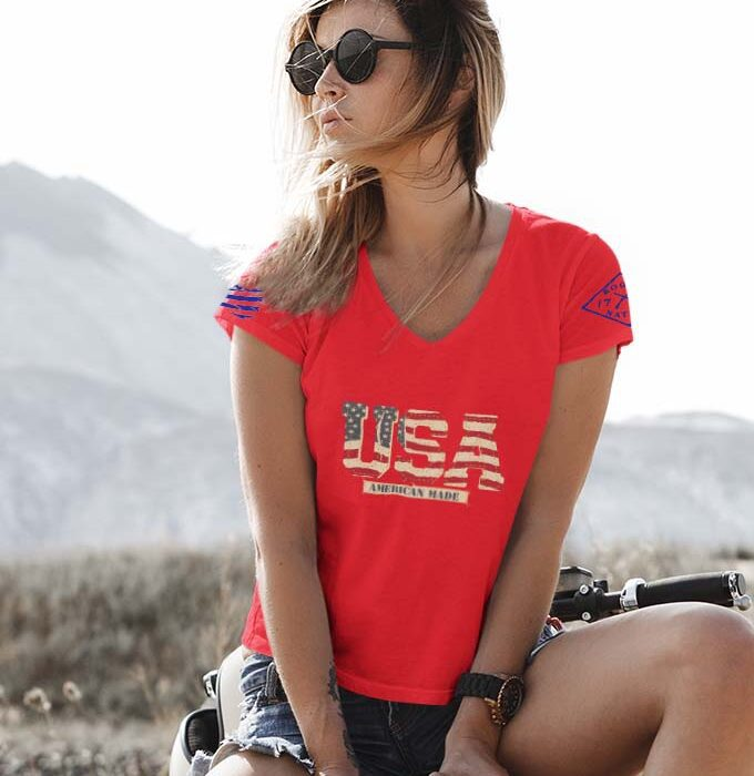 Vintage USA on a Women's Red V-Neck Tshirt