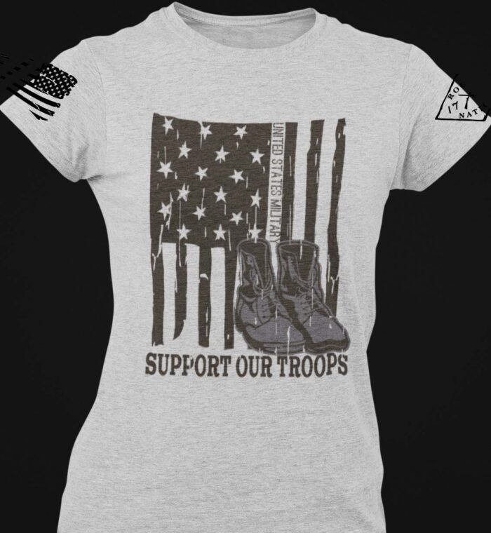 Support Our Troops on a Womens Light Heather Grey T-shirt