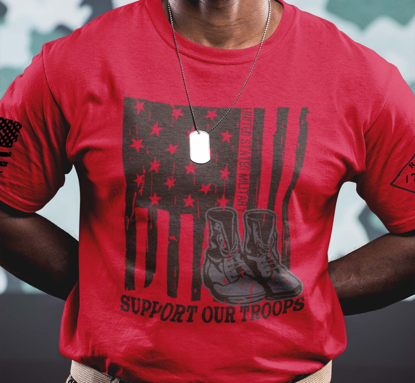 Support our US Troops Flag on a Mens Red T-Shirt