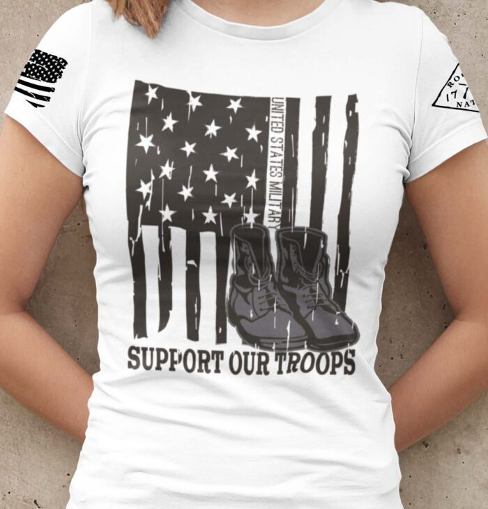 Support our US Troops Flag on a womens white T-shirt
