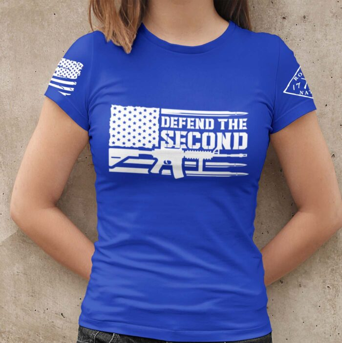 Defend the 2nd on a Womens Royal Blue T-Shirt