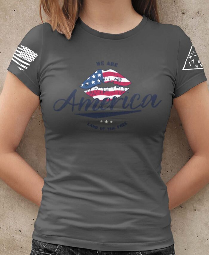 America Land of the Free Charcoal T-Shirt Women's
