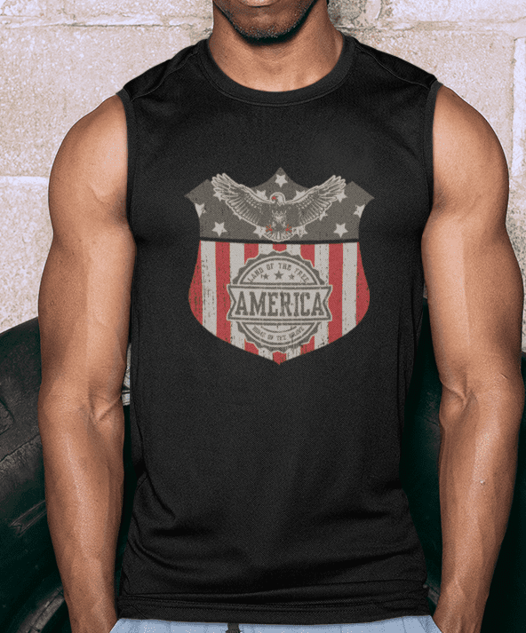 Land of the Free Muscle Tank in Black