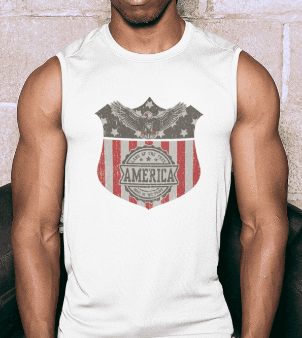 Land of the Free Muscle Tank in White