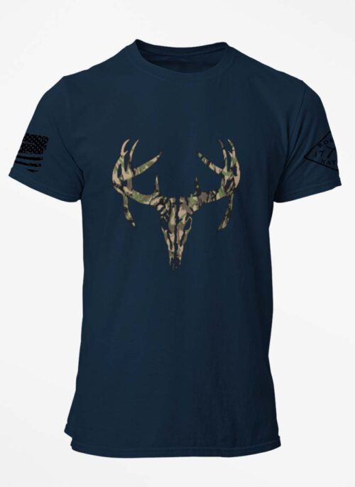Camo Antlers on a Navy T-Shirt