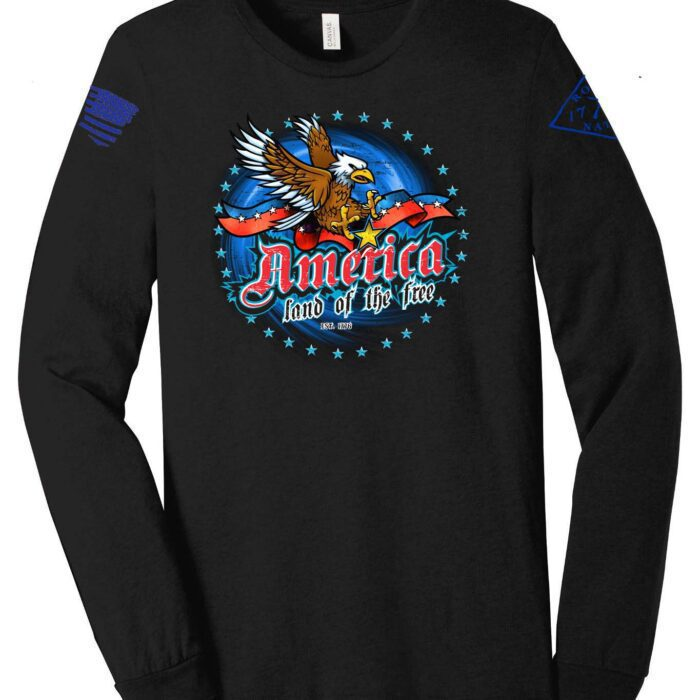 American Land of the free on a Black Long Sleeve T-Shirt
