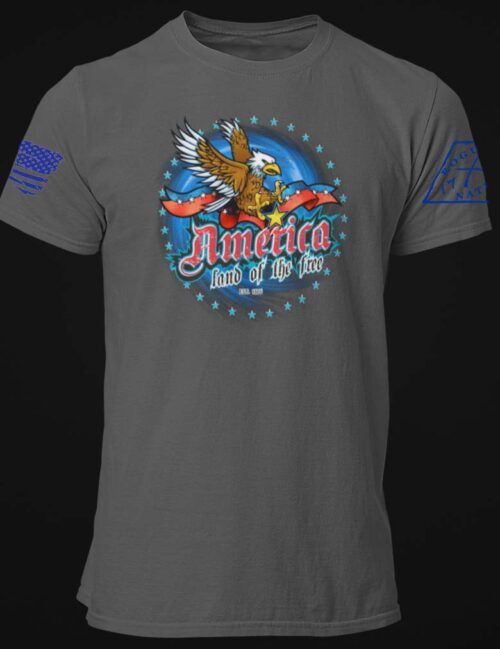 America Land of the Free Tshirt in Charcoal