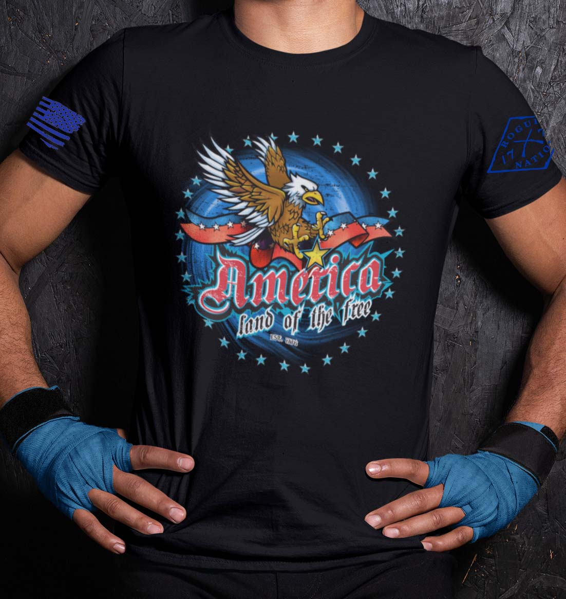 America Land of the Free Tshirt in Black
