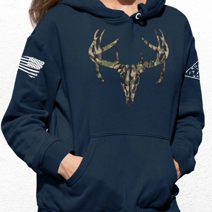 Camo Antlers on a Navy Hoodie
