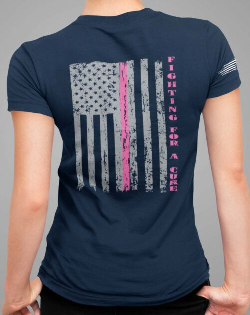 Fighting for a cure on a Navy Blue V-Neck T-Shirt.