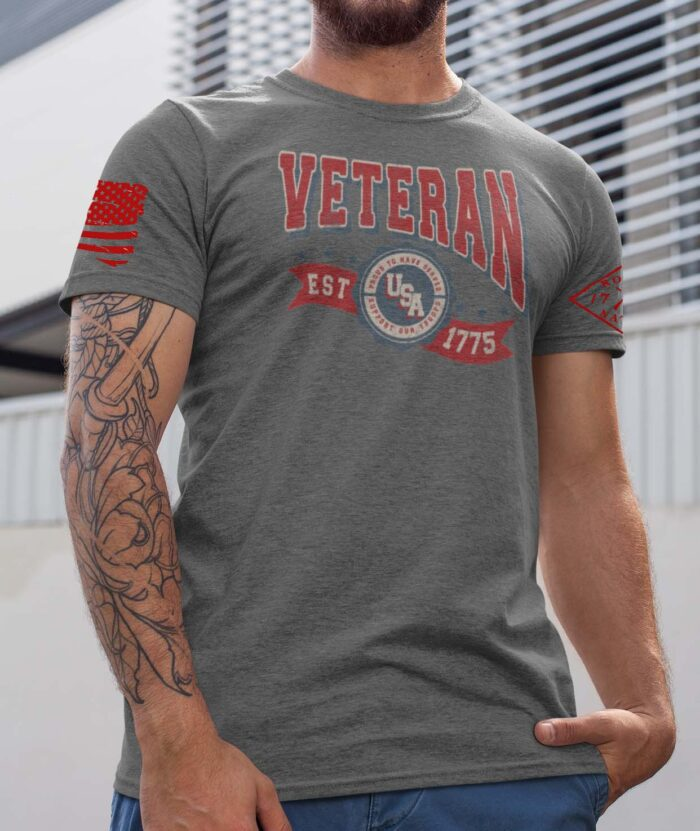 Veteran in the USA on a Grey Frost T-Shirt Men's