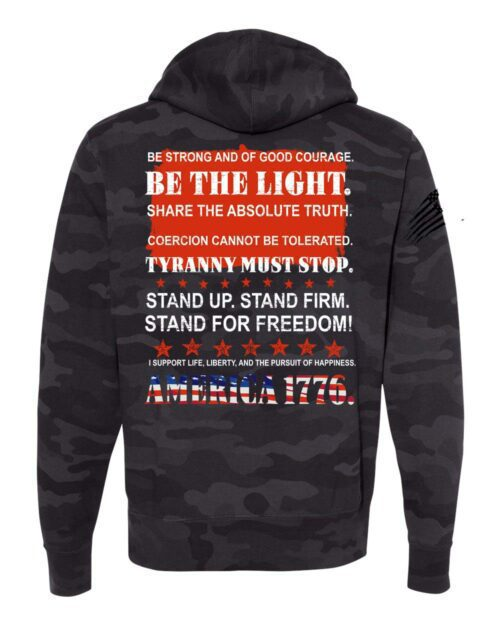 Stand Up Stand Firm on Back of Black Camo Hoodie