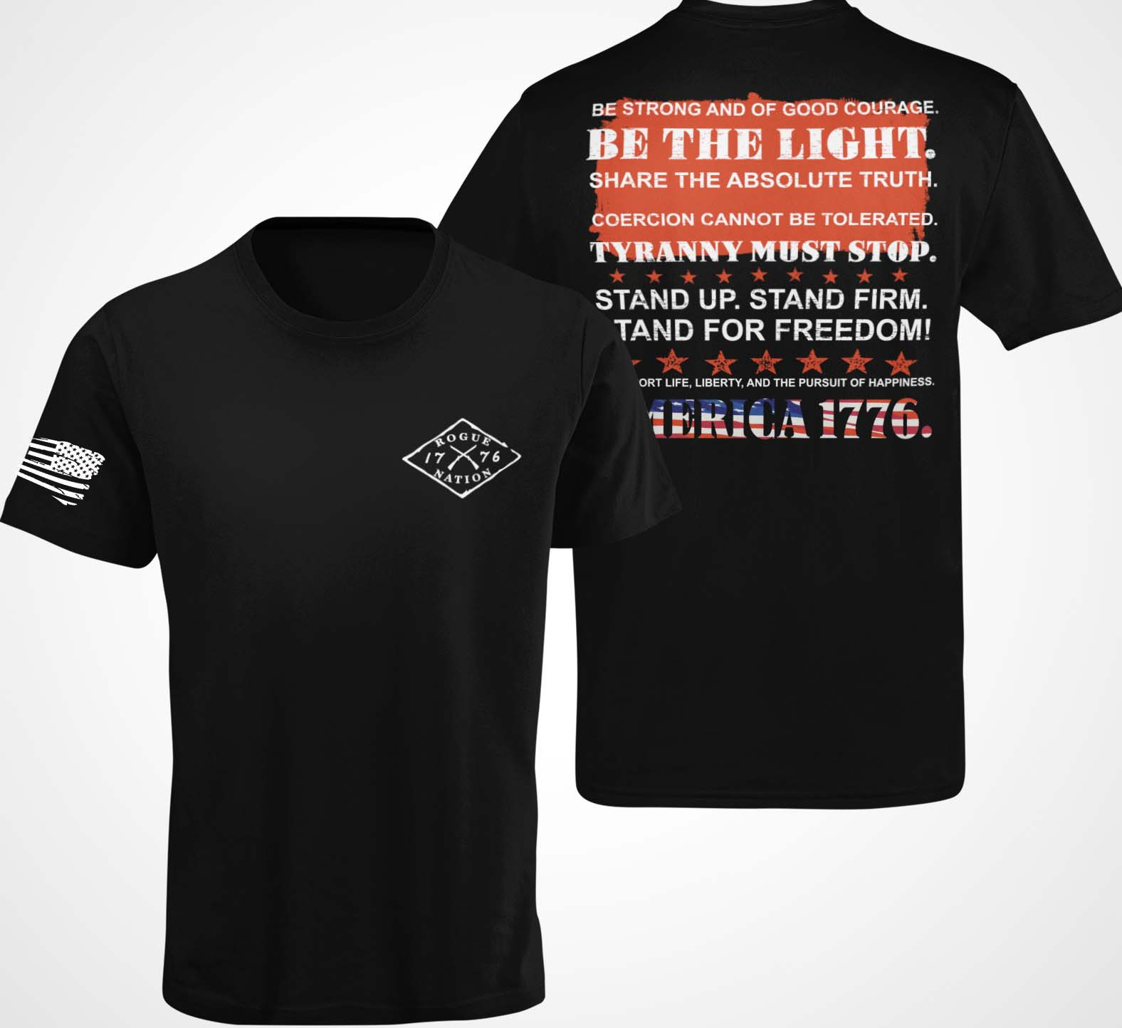 Stand Up Stand Firm on Back of Black T-Shirt