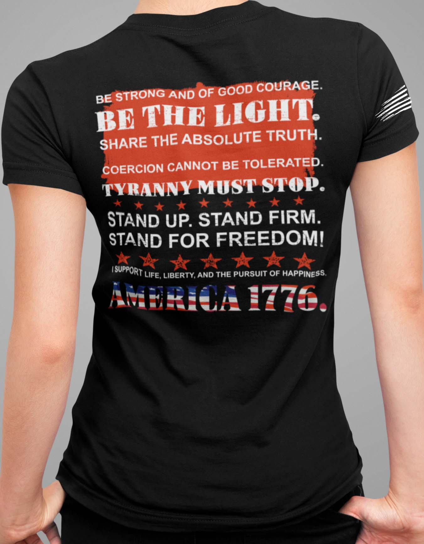 Stand Up Stand Firm on Back of Black V-Neck