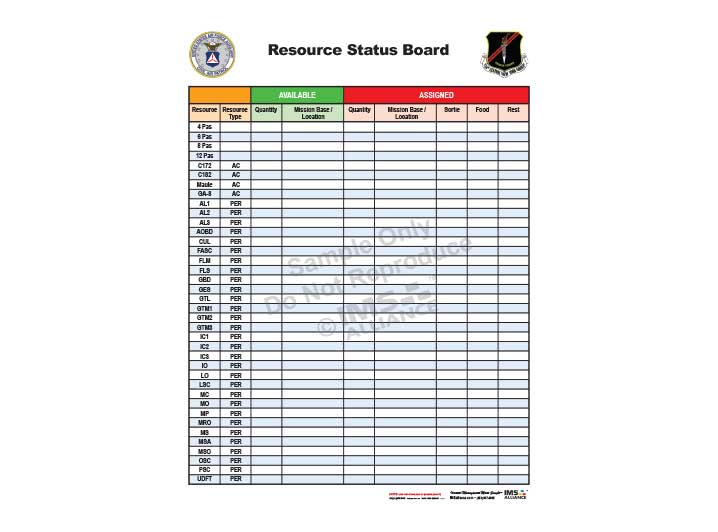 Civil Air Patrol Resource Status Board 718x532