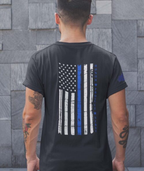 t-shirt with thin blue line hps on black back mens