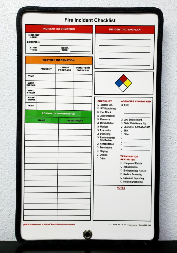 Fire Incident Checklist