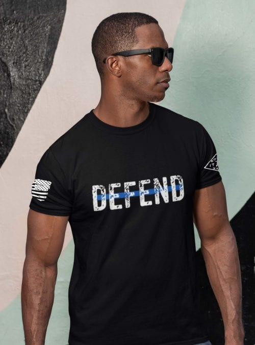 Defend Blue in Men's Black T-Shirt